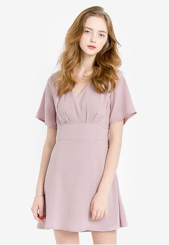 Kodz pink V-Neck Dress With Flare Sleeves KO698AA0RKEFMY_1