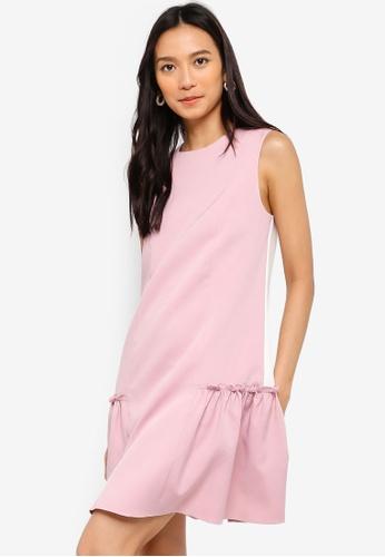 ZALORA 白色 and 粉紅色 Drop Waist Ruffle Hem Dress C5247AA38B8FA3GS_1