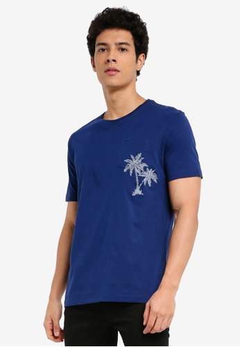 MANGO Man blue Embroidered Detail Cotton T-Shirt A2277AAA8972A4GS_1