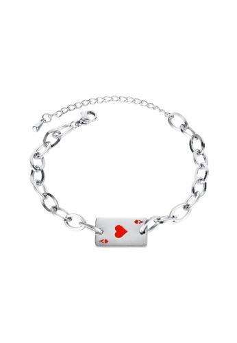 ADORA red Stainless Steel Card Bracelet B0B77AC555F937GS_1