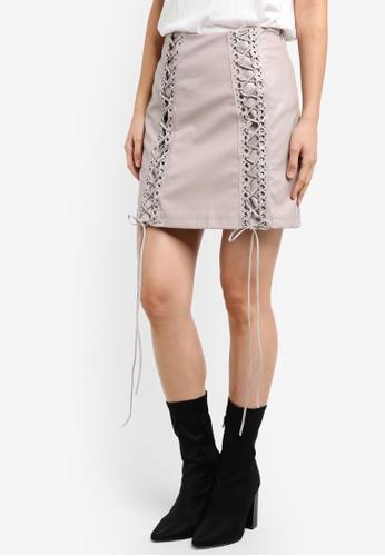 True Decadence grey PU Lace-Up Skirt TR715AA0S2YUMY_1
