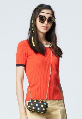 iROO orange Knitted Top 8D284AA4F624C6GS_1