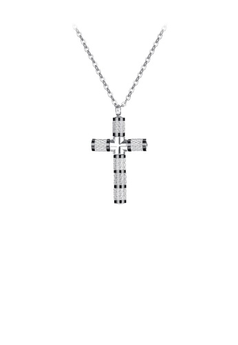 Glamorousky silver Fashion Simple Cross 316L Stainless Steel Pendant with Necklace 427ABACA99D696GS_1