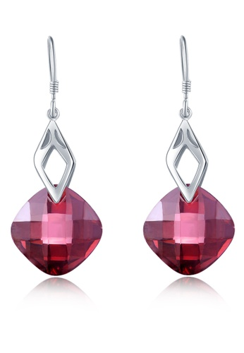 MBLife silver 925 Sterling Silver Red Square CZ Hook Earrings FE366AC9F17D6AGS_1