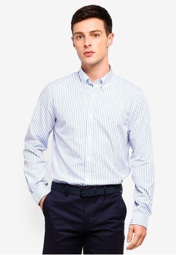 Brooks Brothers 藍色 長袖條紋襯衫 4E2CFAAEDA49FCGS_1