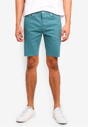 Topman green Green Denim Stretch Skinny Shorts 407EDAA43F645FGS_1