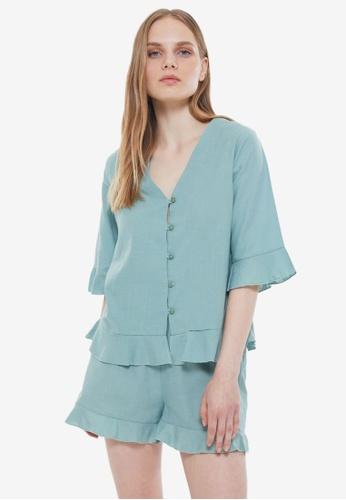 Trendyol 綠色 Woven 睡衣組 828A6AAF35611EGS_1