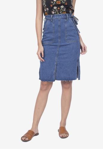 Caoros blue Denim Midi Skirt 26AAAAA22E7C88GS_1