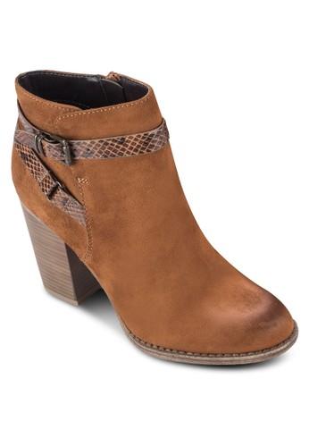 Adda esprit女裝扣環蛇紋帶高跟短靴, 女鞋, 鞋