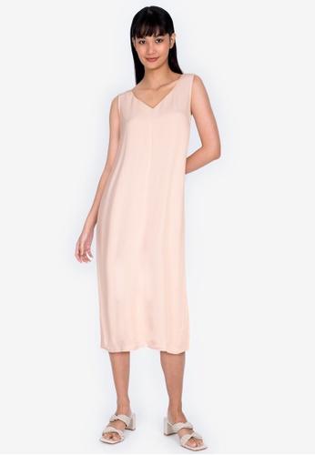 ZALORA BASICS beige V Neck Column Dress B020CAA1BA93ADGS_1