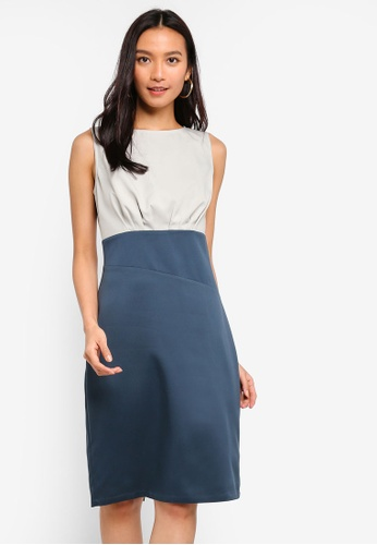 ZALORA green Asymmetrical Waist Sheath Dress 7F90CAAF39B7B4GS_1