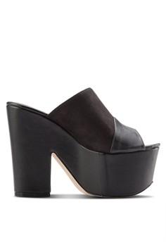 混合拼接厚底粗跟楔型鞋