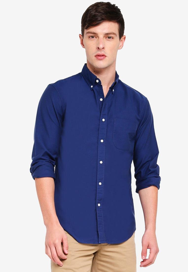 Crew Shirt Oxford Tonal Cotton J Stretch Vintage Blue qPv4Iq