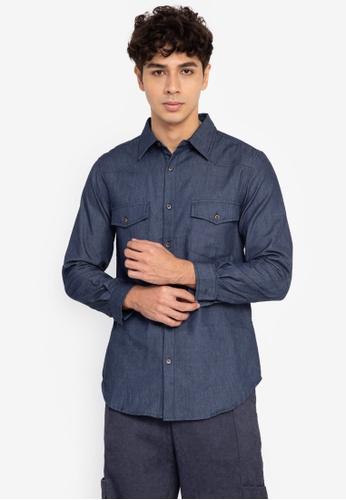 ZALORA BASICS blue Cowboy Shirt 9269BAAED9D7CDGS_1