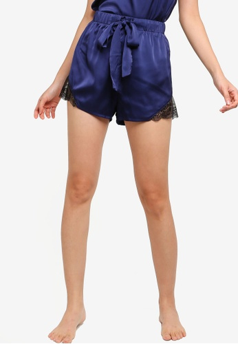 ZALORA BASICS black and blue Lounge Lace Detail Satin Shorts A3C5FAA0D4E8E6GS_1