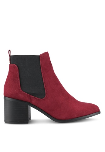 River Island red Block Heel Ankle Chelsea Boots RI009SH0SF6FMY_1