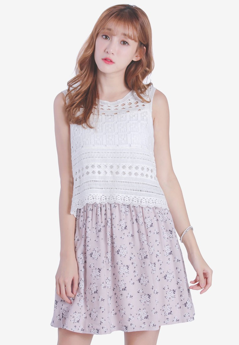 Crochet Dress With Floral Skirt