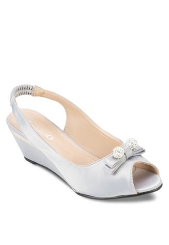 蝴蝶結露趾esprit 高雄繞踝楔型鞋, 女鞋, 魚口楔形鞋