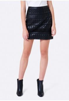 Ebony Embroidered PU Mini Skirt