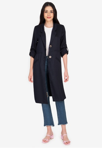 Origin by Zalora navy Long Soft Blazer made from TENCEL? FB642AAF23E680GS_1