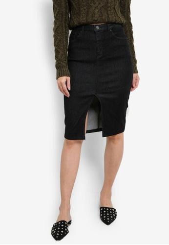 ZALORA black Denim High Waisted Pencil Skirt With Central Slit B49D1ZZ058D8DDGS_1