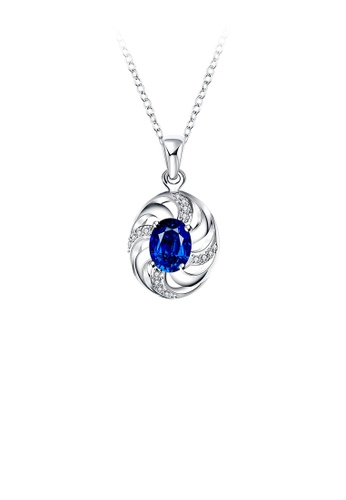 Glamorousky white Simple and Fashion Hollow Geometric Pendant with Blue Cubic Zircon and Necklace 595E9AC425D736GS_1