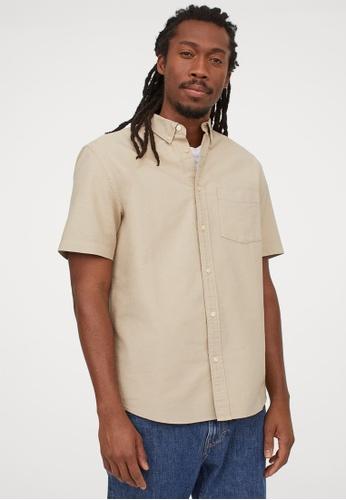 H&M beige Collared shirt E9877AA93C0E48GS_1