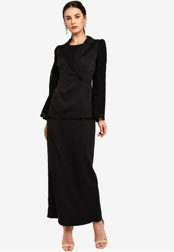 Zalia black Flare Sleeves Top With Pencil Skirt D62D7AAE1765DBGS_1