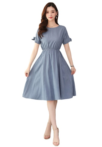 Halo blue Simply Round Neck Dress 8A077AAF11D592GS_1