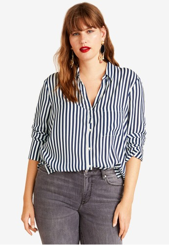 Violeta by MANGO navy Plus Size Striped Modal Shirt 5B68DAA34AD092GS_1