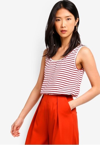 ZALORA BASICS white and red Basic Tank Top 7EA9EAAE8F8D52GS_1
