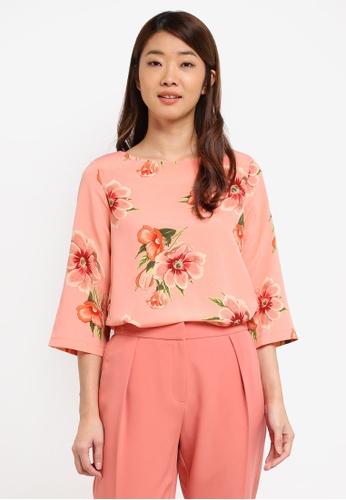 Dorothy Perkins pink Coral Floral 3/4 Sleeve Top 9AF05AA671B172GS_1