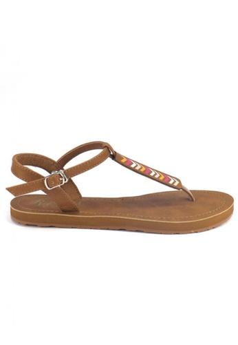Ripples brown Chevron Slide'N'Style T-Bar Sandals RI425SH37UXMSG_1