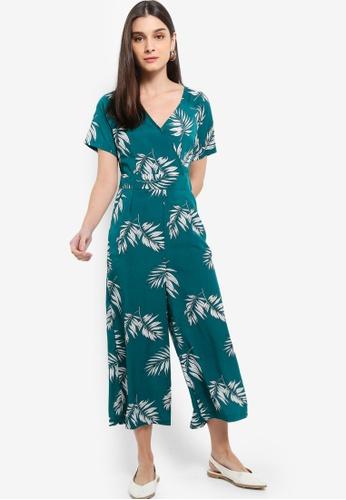 ZALORA 白色 and 綠色 Short Sleeves Wrap Jumpsuit 9C38DAA9E2A46FGS_1