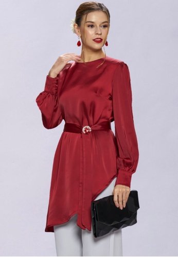Loveaisyah red Modern Maroon Asymmetrical Top 9DA37AA63C1D66GS_1