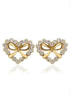 Katelyn Heart Ribbon Gold Earrings