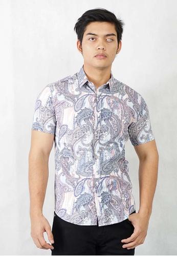 UA BOUTIQUE blue Short Sleeve Shirt Batik SSB125-041 (Blue) 3B9E8AAD790B83GS_1