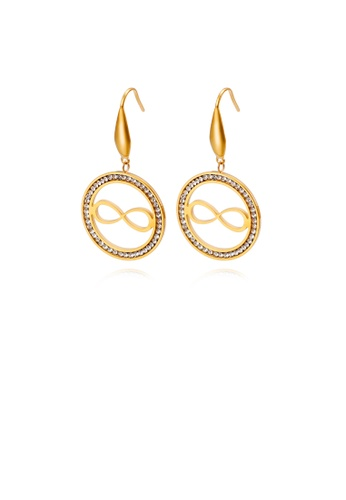 Glamorousky white Simple Personality Plated Gold Geometric Round Infinity Symbol 316L Stainless Steel Earrings with Cubic Zirconia 0ED91AC3FAF543GS_1