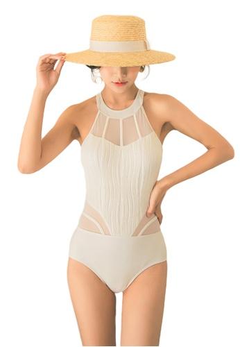 Sunnydaysweety white Sexy Mesh Stitching Halter One-Piece Swimsuit A21071416W 2AA0FUSA48AD7CGS_1