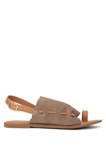 RAG & CO brown Fran Back Strap Flat Sandal D543ASH13EA8B3GS_1
