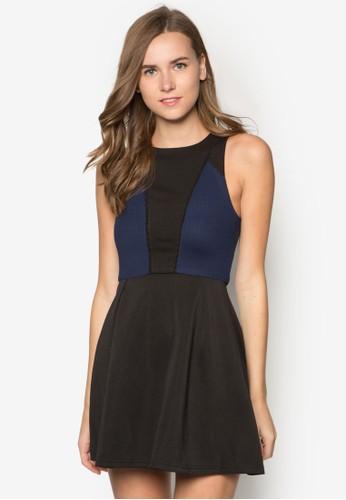 撞色拼接傘擺洋裝, 服飾, 正式洋zalora 衣服評價裝