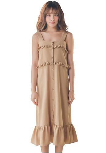 Yoco brown Sleeveless Ruffle Dress 0BE43AA78E3FC1GS_1