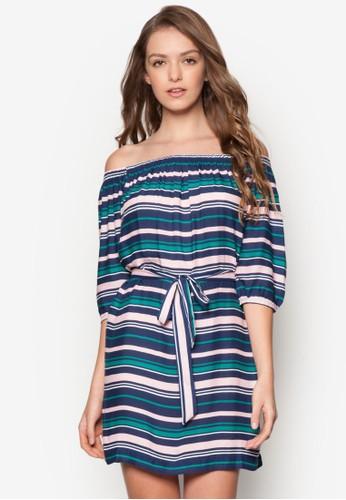 露肩領條紋洋裝、 服飾、 洋裝MissSelfridge露肩領條紋洋裝最新折價