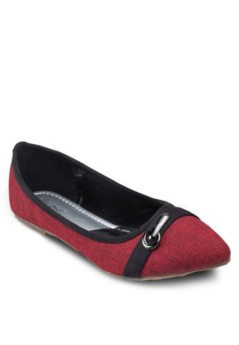 Covet esprit hk撞色扣環平底鞋, 女鞋, 鞋