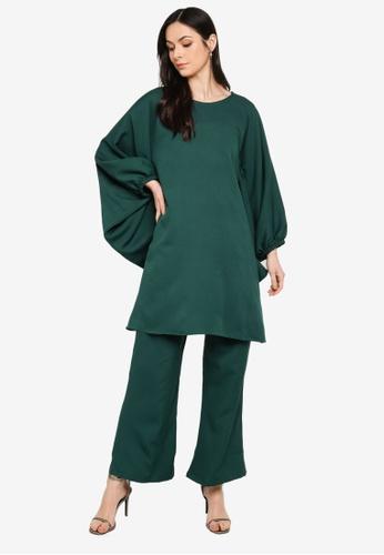 Butik Sireh Pinang green Zalikha Blouse Suit Kaftan 558D4AAF1F7D1FGS_1