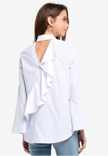 River Island white and blue Contrast Frill Back Blue & White Shirt 41E32AA7C9074FGS_1