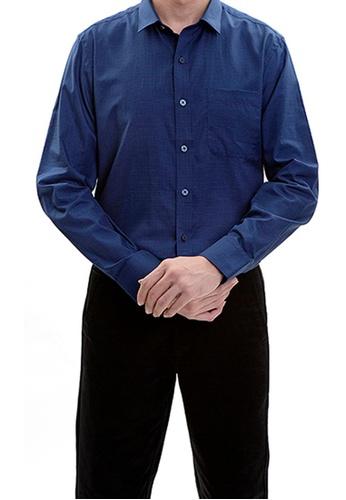 Goldlion blue Goldlion Long-Sleeved Shirt 3ADE7AAD021D0AGS_1