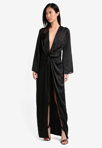 MISSGUIDED black Satin Plunge Twist Front Kimono Maxi 483F8AAD0D0D37GS_1
