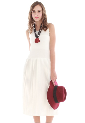 JOVET white Pleated Basic Dress JO914AA27JWISG_1