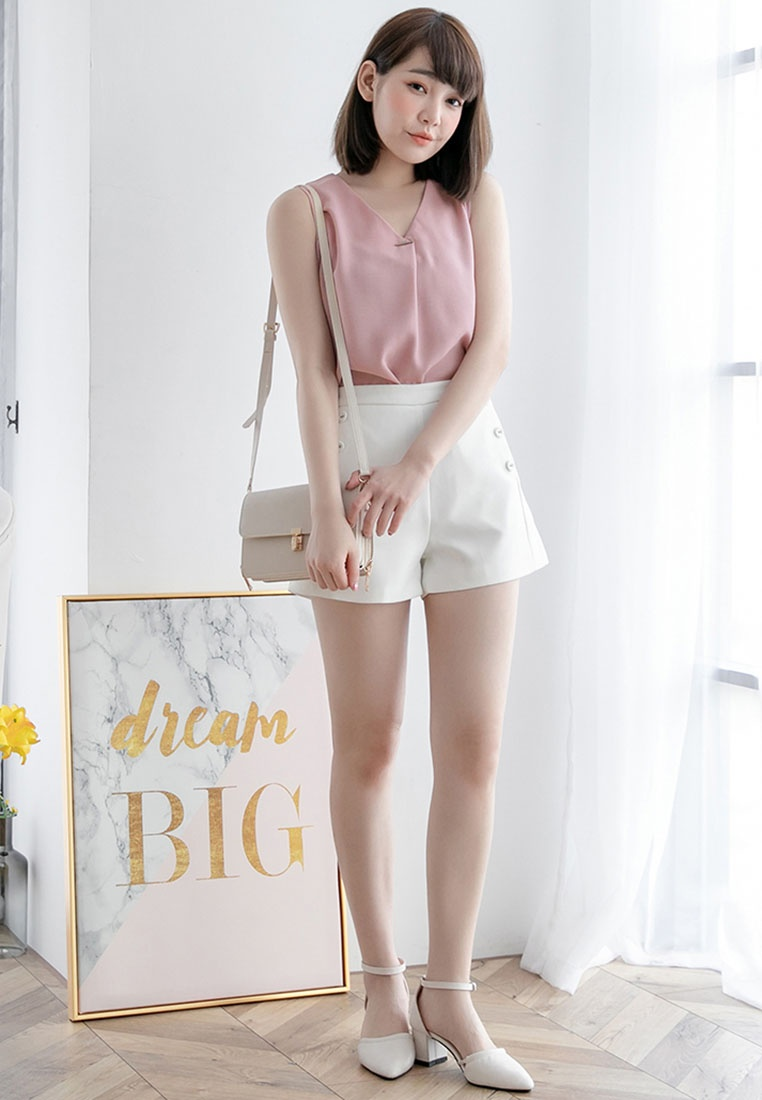 Eyescream V Minimalist Neck Pink Top ggfRwq